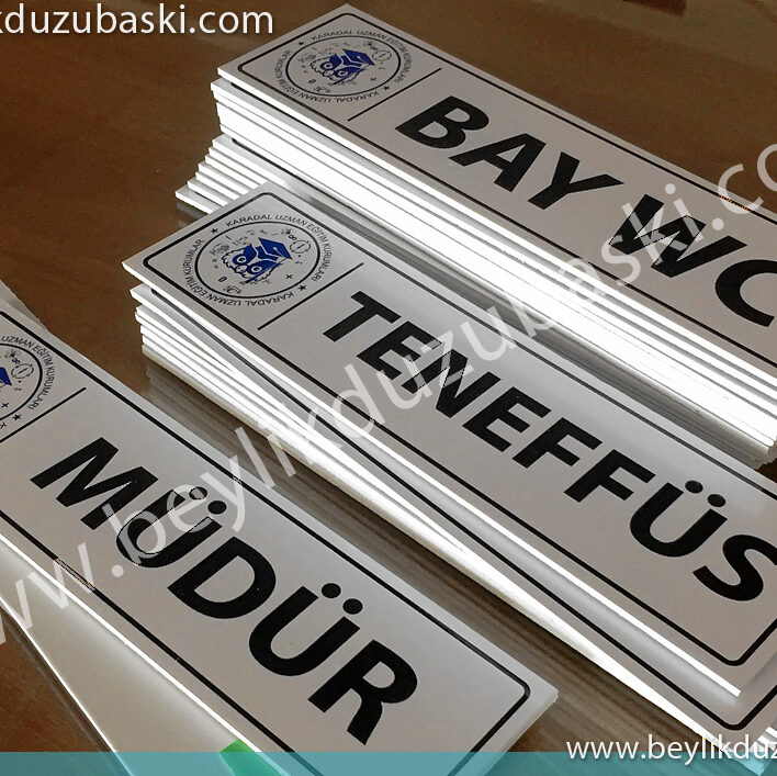 3 mm decota plastic material, affordable, suitable for production in quantity, door sign, cheap door nameplate, production in desired size and quantity, beylikdüzü door sign